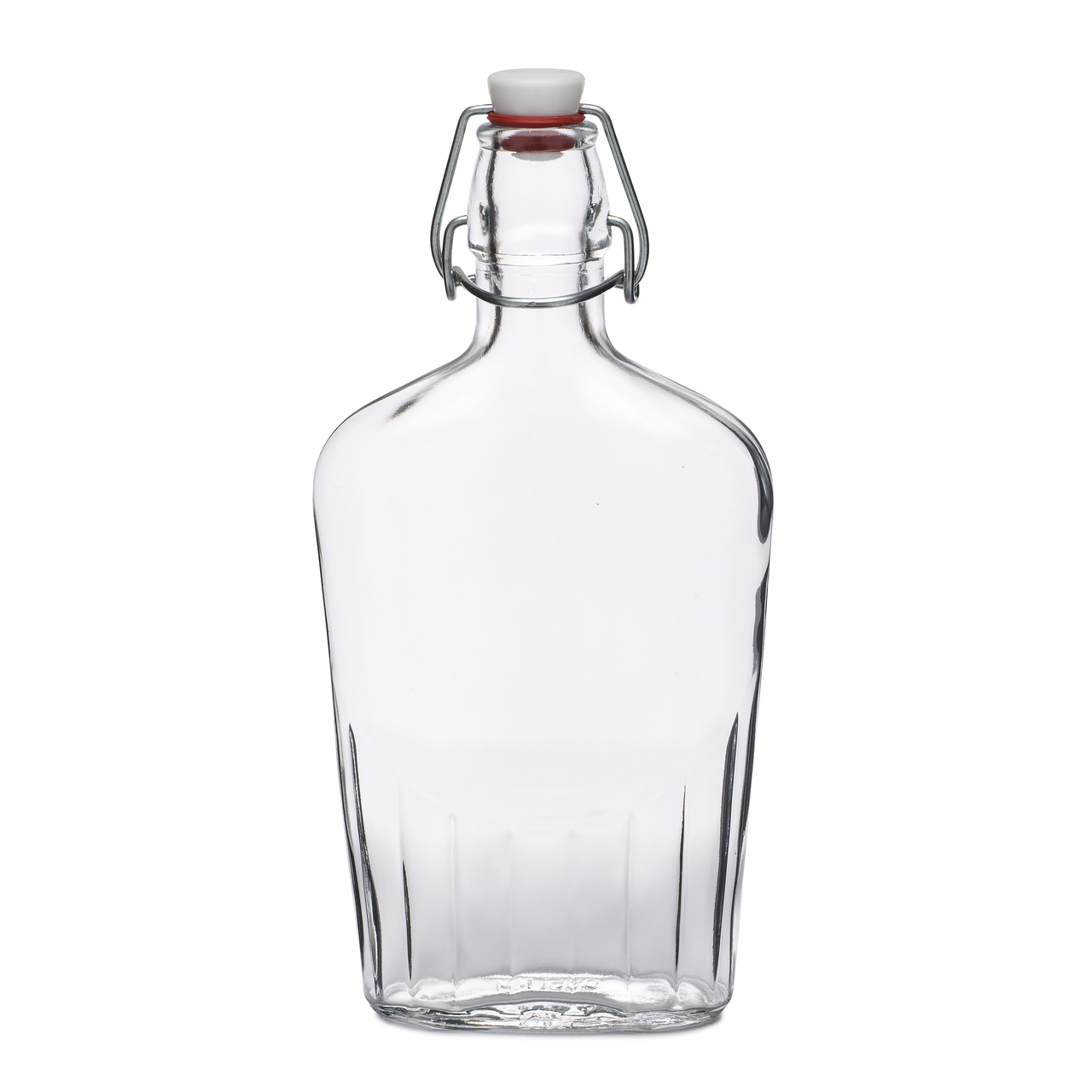 500 ml Clear Glass Oval Bale Wire Flasks